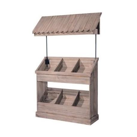 Comptoir en bois + toit 6 cases