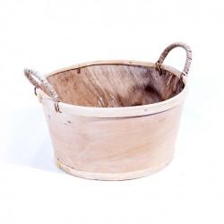 Panière ronde bois naturel avec anse 23cm