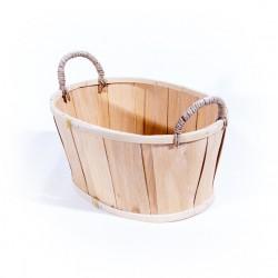 Panière ovale avec anse 25x15cm bois naturel