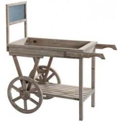 Charette en bois + ardoise