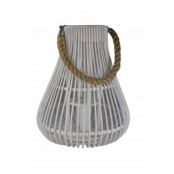 Lanterne corde bois blanc